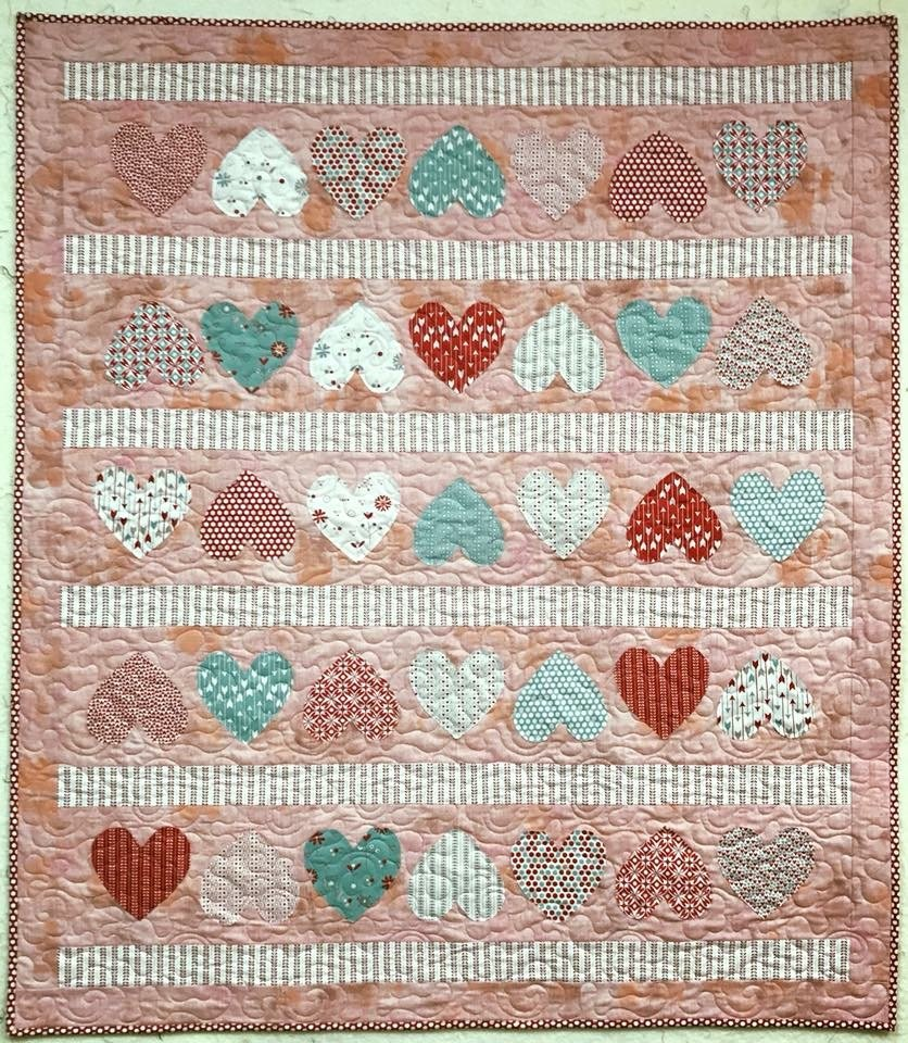 Candy Hearts Quilt 45 x 54
