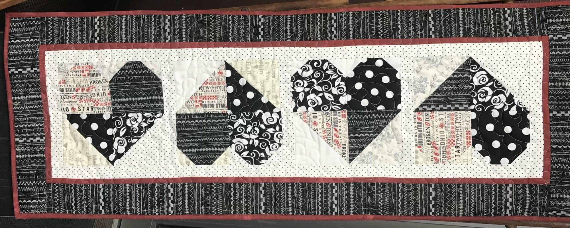 Four Heart Table Runner Black & White 16 x 43