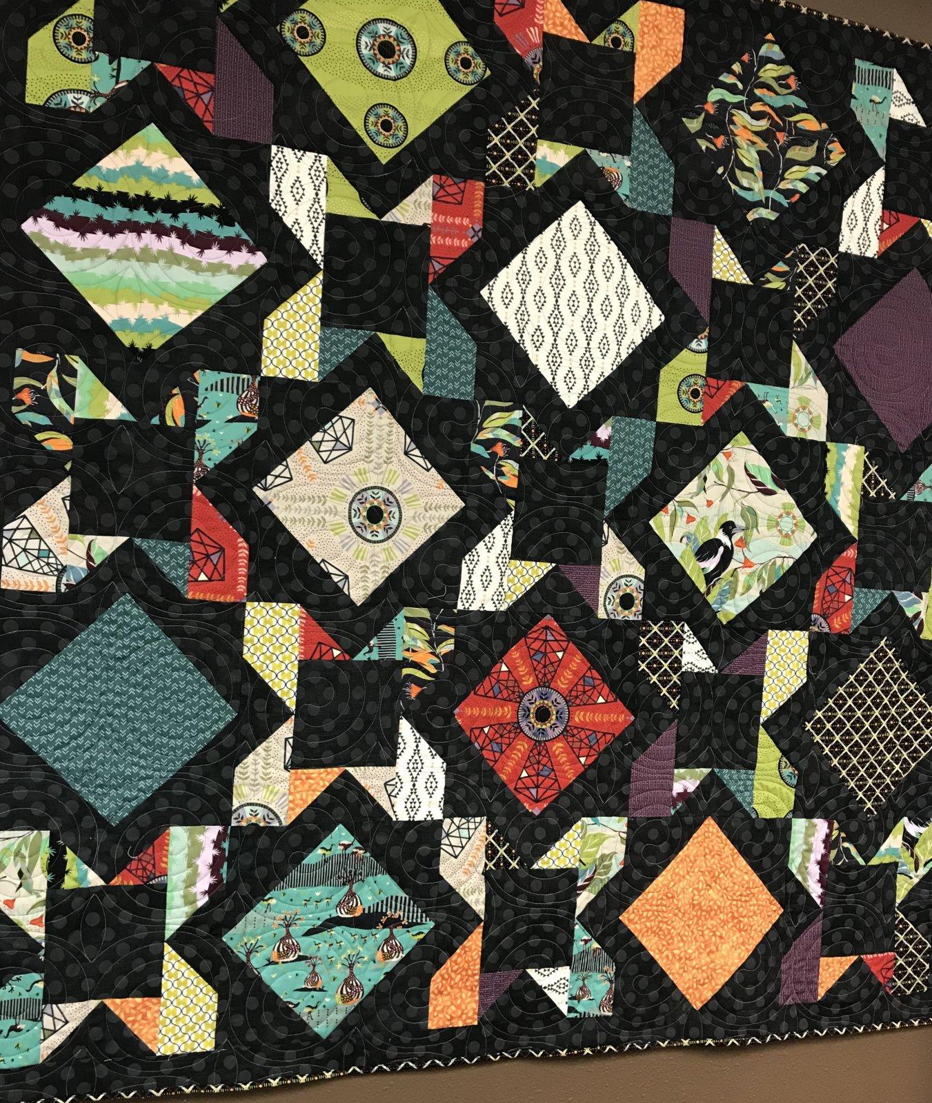 Embrace Black Quilt 66 x 66