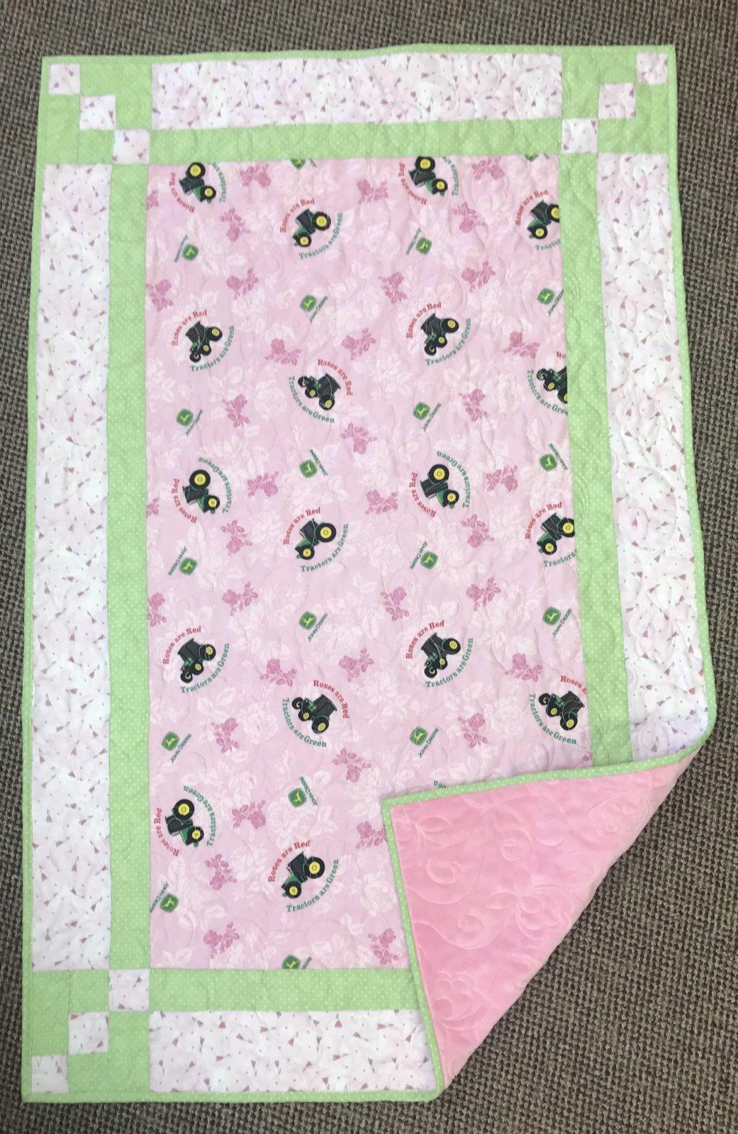 John Deere pink baby quilt 34 x 54