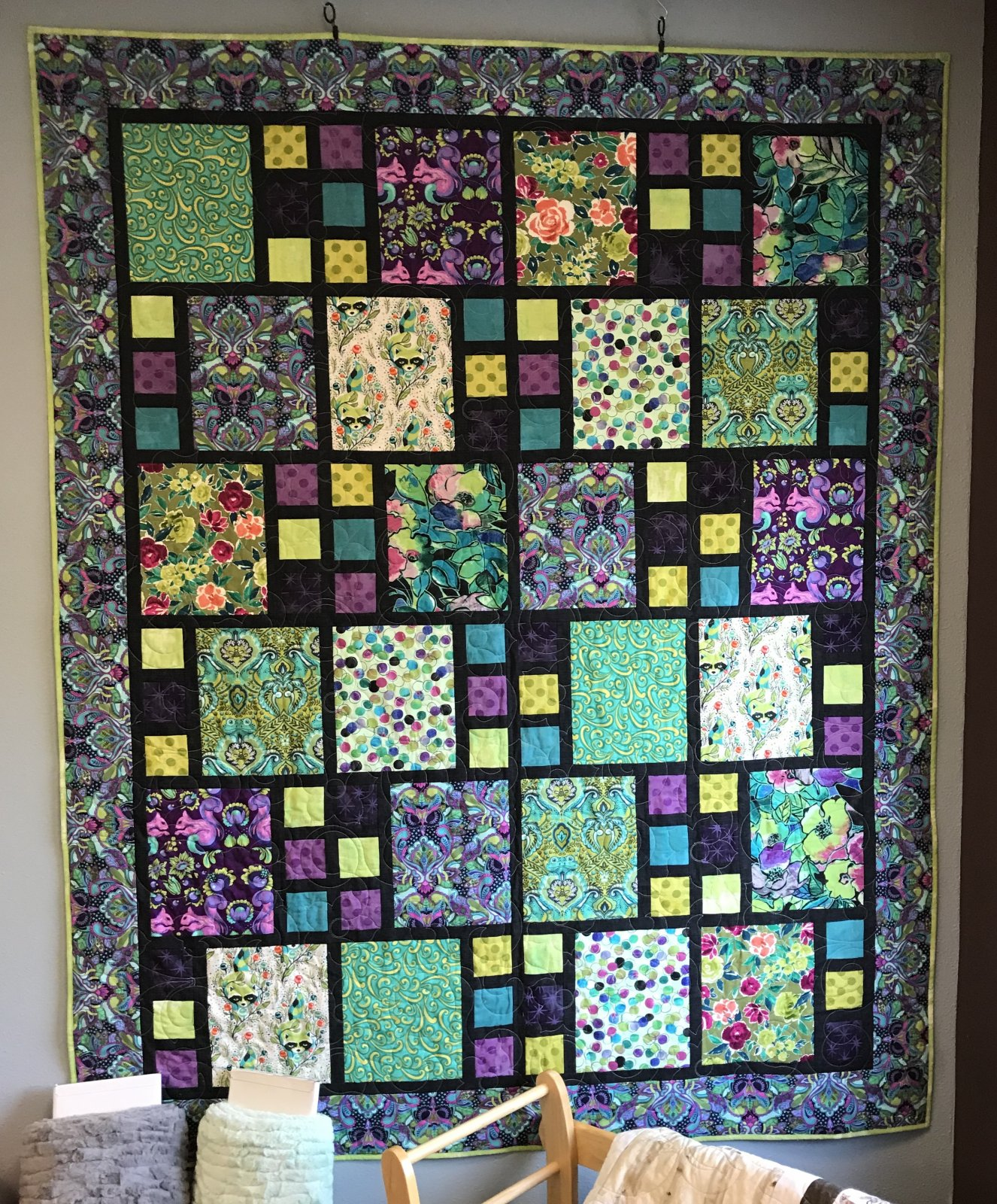 ?Times 3? Tula Pink twin quilt 67-1/2? x 83-1/2?