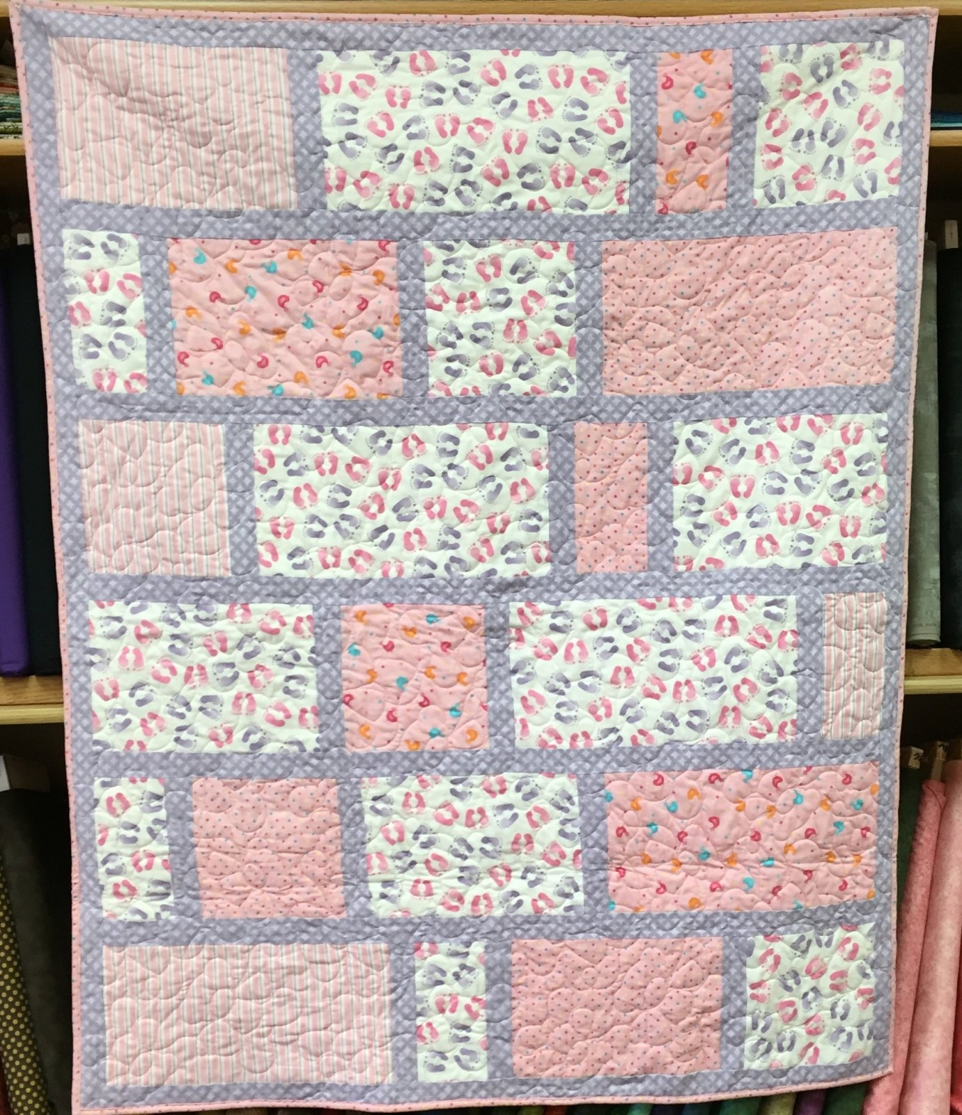 Life Is Good Pink Flannel Baby Quilt 48x60 SOLD!!