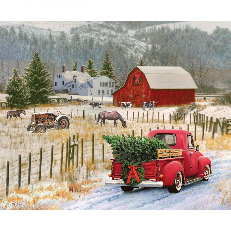 Christmas Memories Truck/Barn Panel 43 x 36 P8691