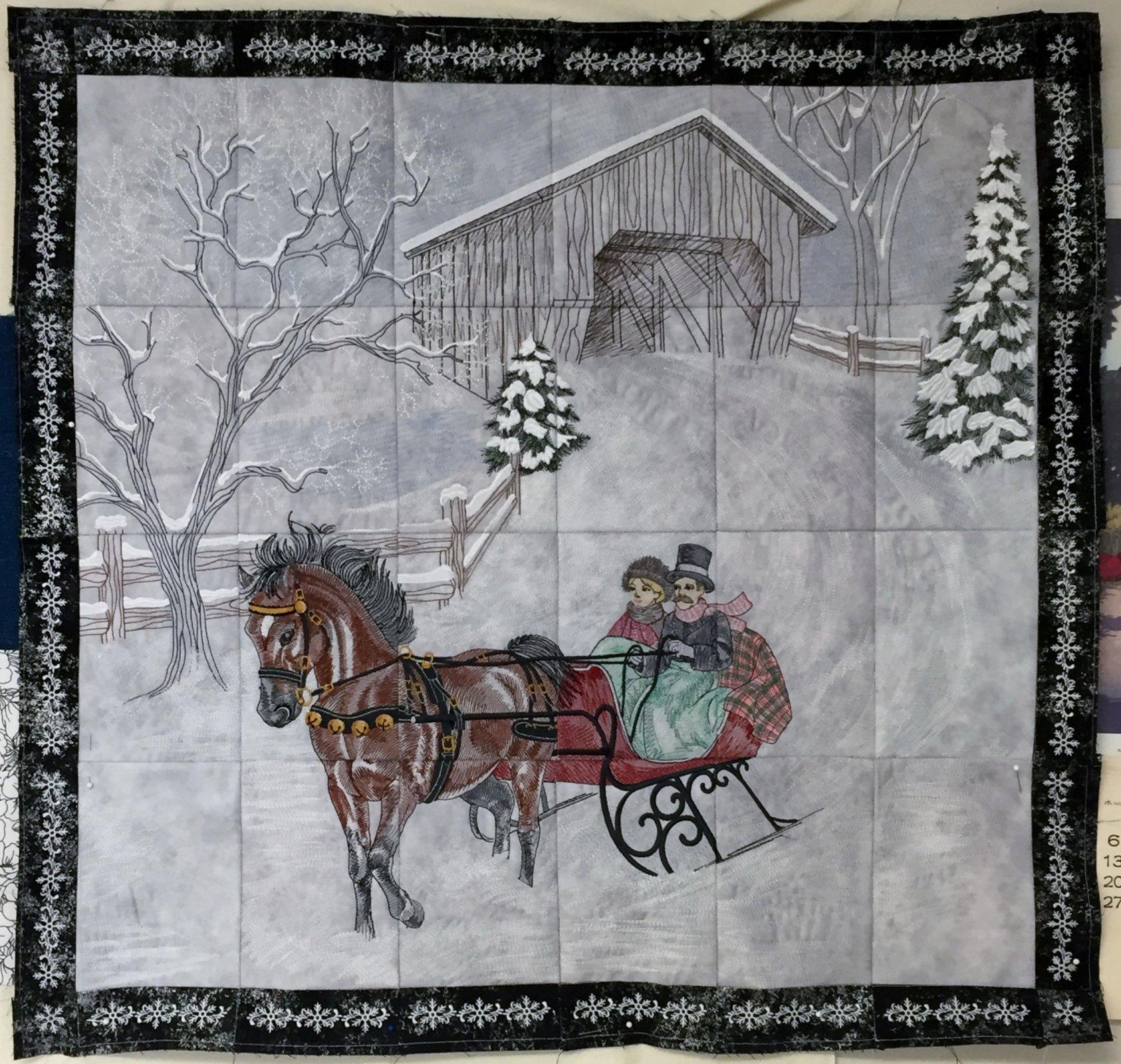 Dashing Thru The Snow Tiling Embroidery