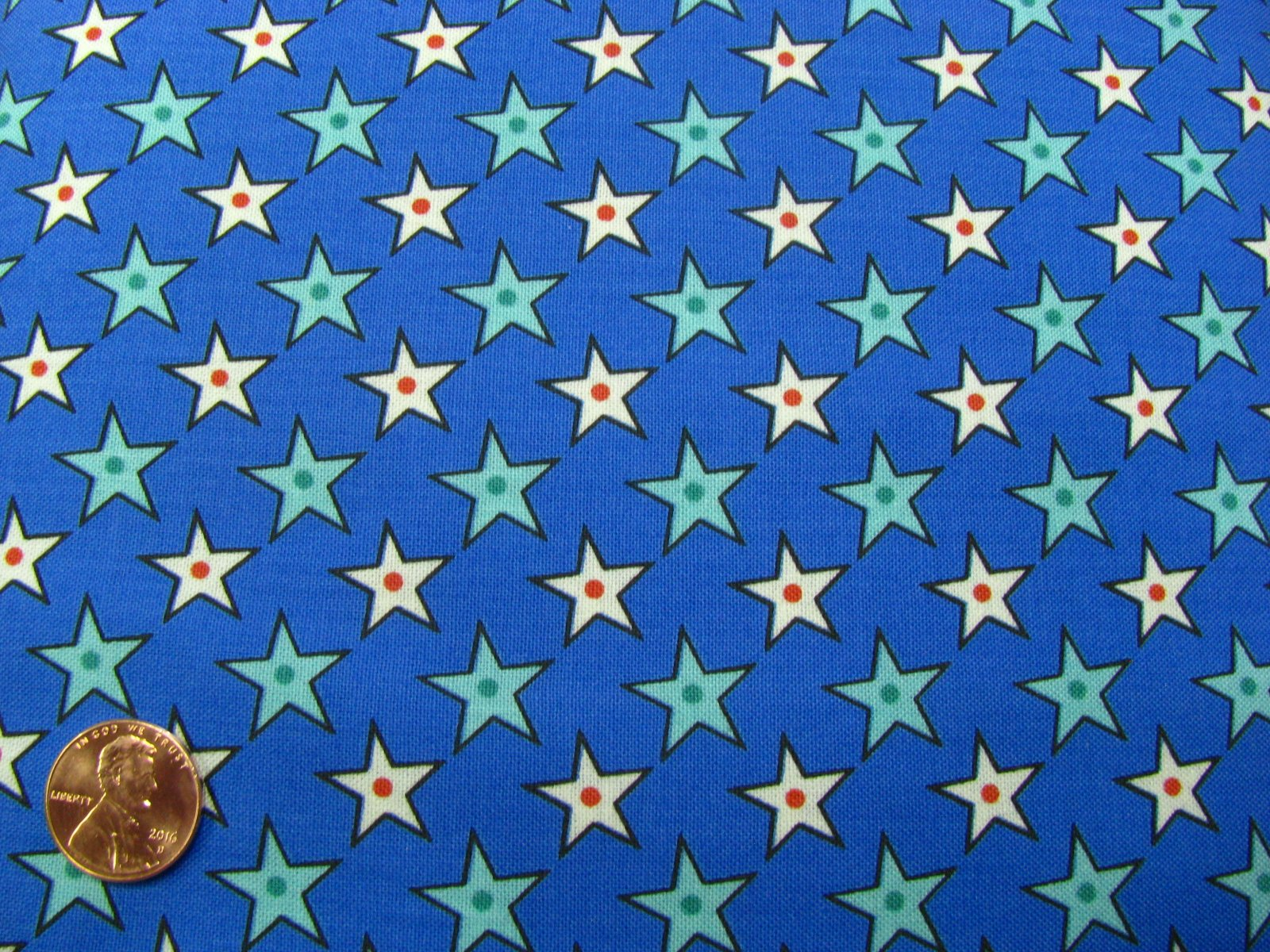 Quilting Treasures-Hot Dog Squadron-blue with stars-45321-B