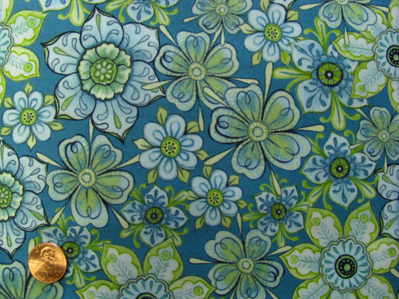 Quilting Treasures Packed Floral Teal