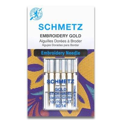 Schmetz Embroidery Gold Titanium Needles 90/14