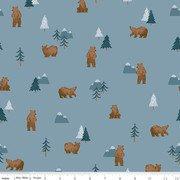Camp Woodland Grizzly Bears Denim by Riley Blake