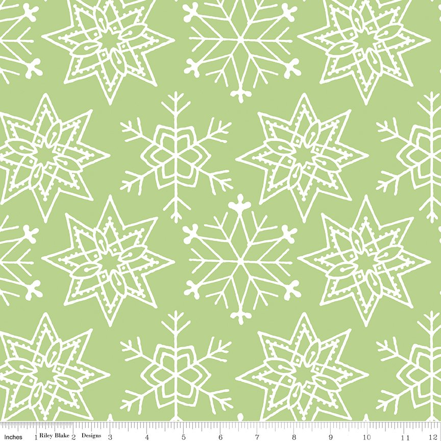 All About Christmas Snowflakes Green by Janet Wecker-Frish
