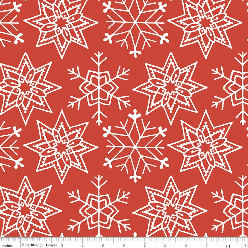 All About Christmas Snowflakes Red by Janet Wecker-Frish
