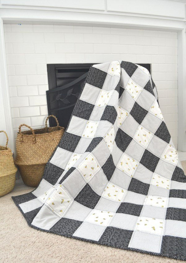 Black Gingham Quilt by Simple Simon & Co