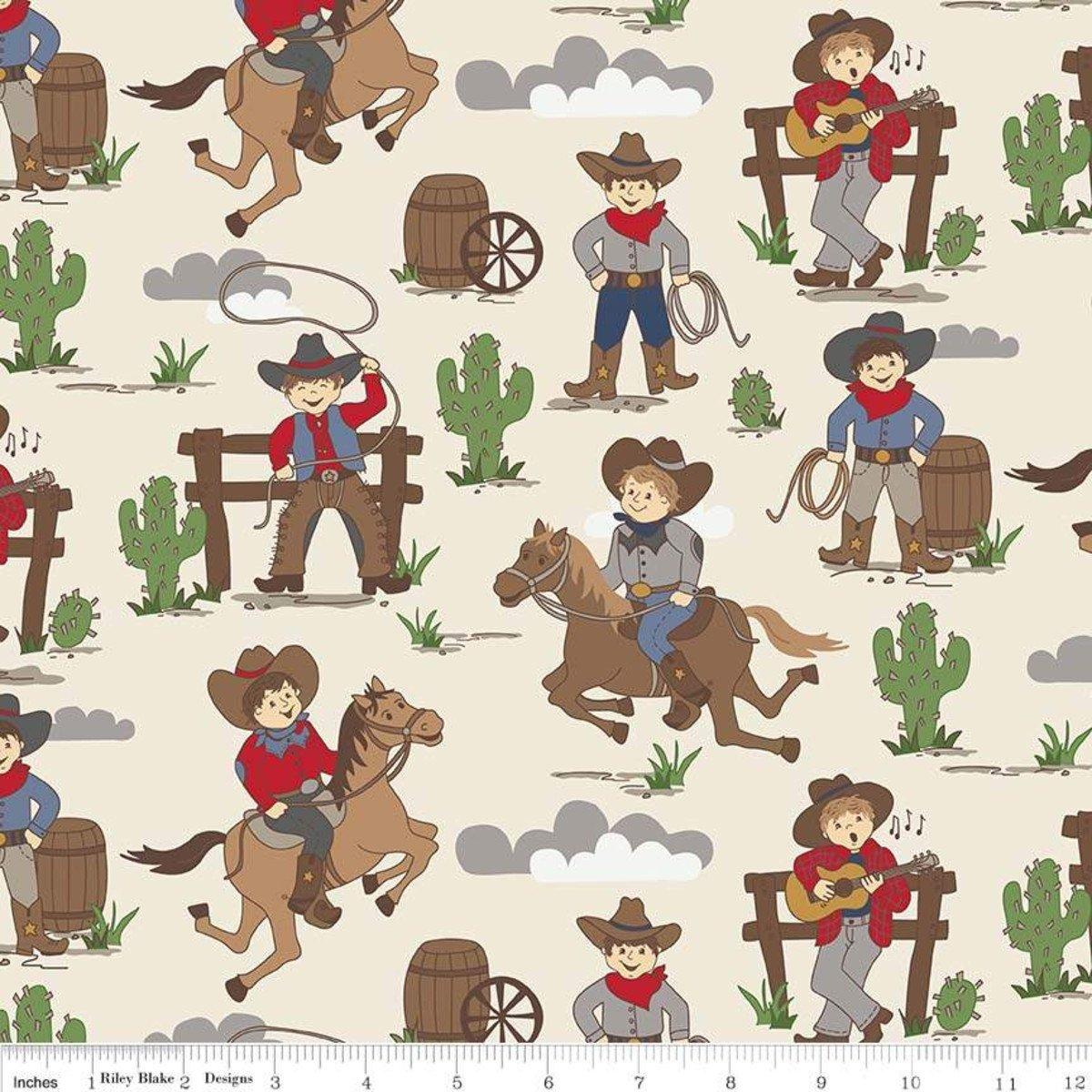 Designer Flannel Cream Cowboys