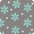 Cozy Cotton Mint Flowers on Grey