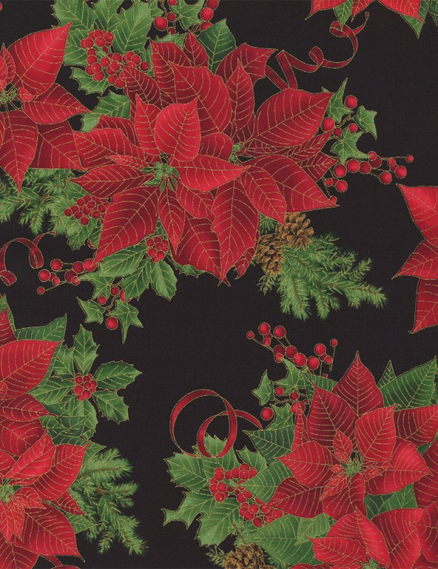 Pine and Poinsettia