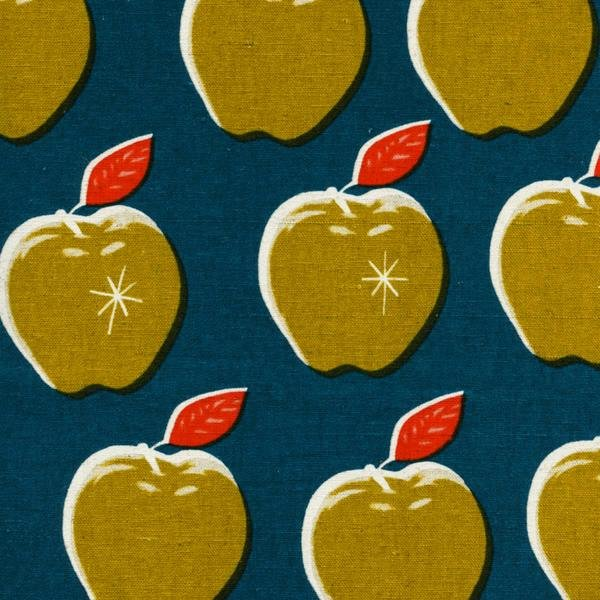 Apples Cotton/Linen Canvas by Melody Miller - Teal/Mustard