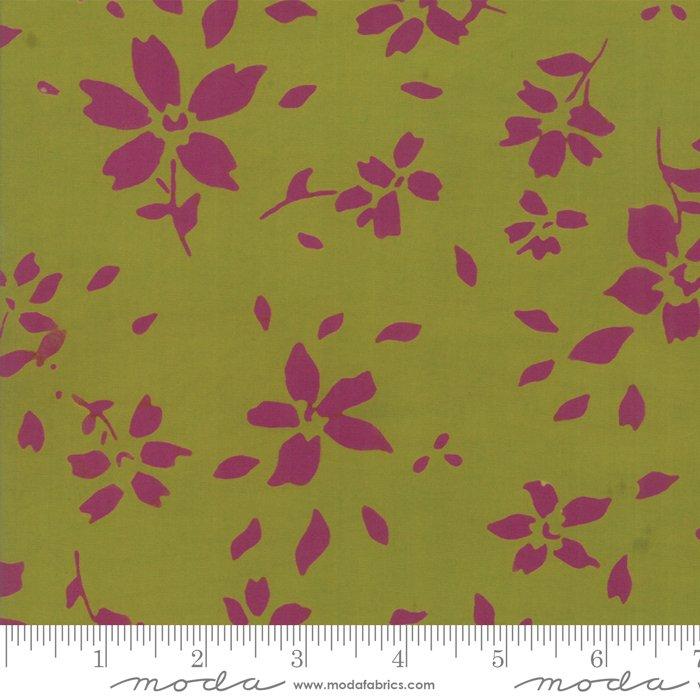 Bazaar Rayon Batik - Flower Petals - Chartreuse