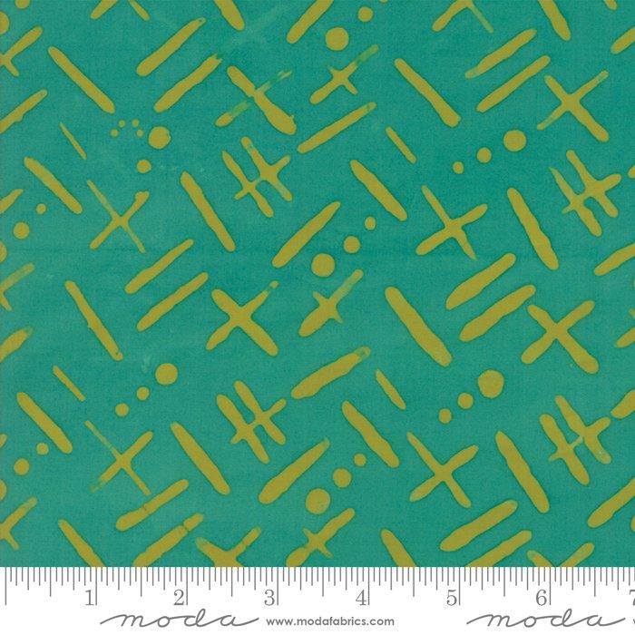Bazaar Rayon Batik - Crosses & Dashes - Teal