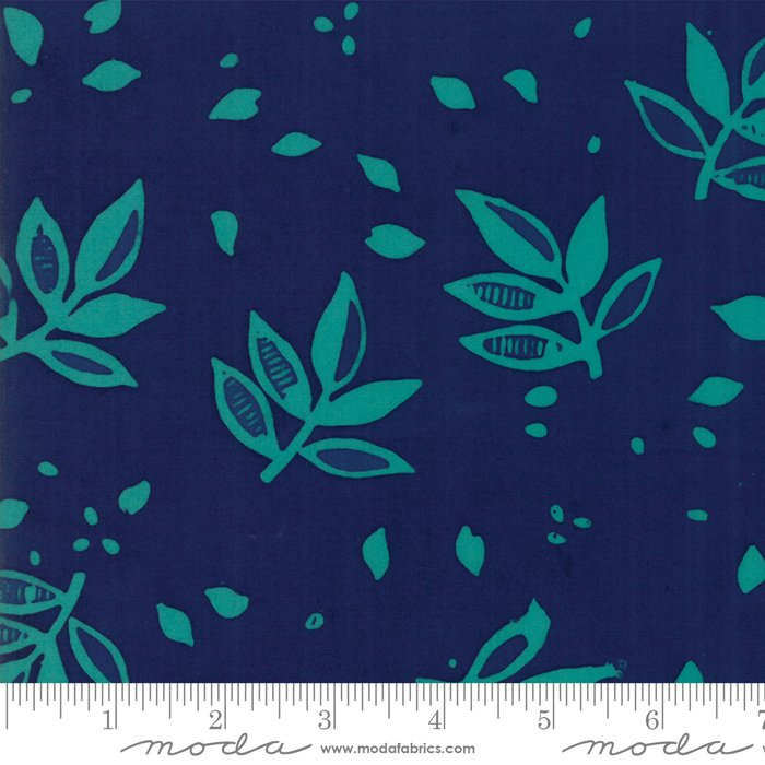 Bazaar Rayon Batik - Leaves - Midnight