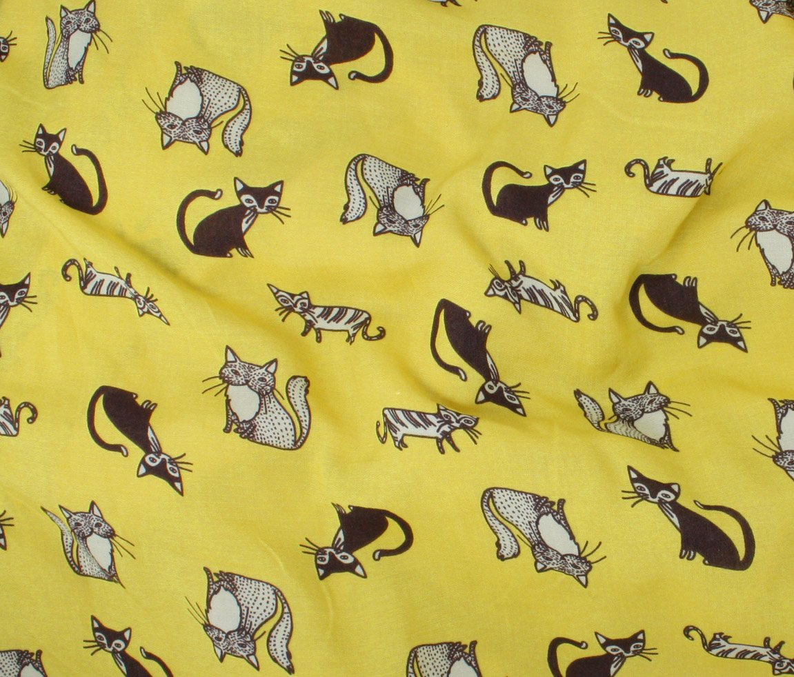 Rayon Voile Cat Print - Yellow