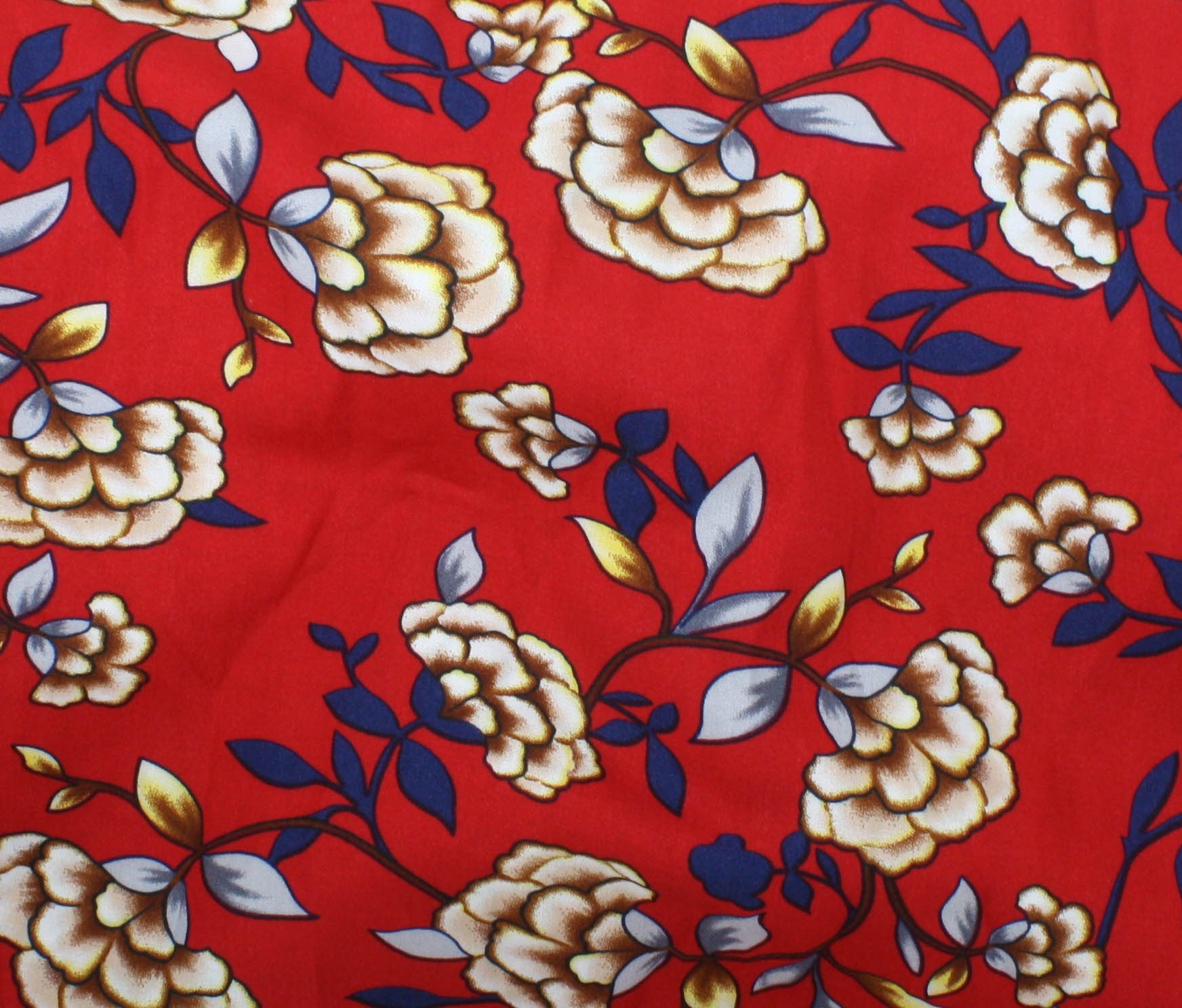 Rayon Challis Print - Tattoo Flowers Red