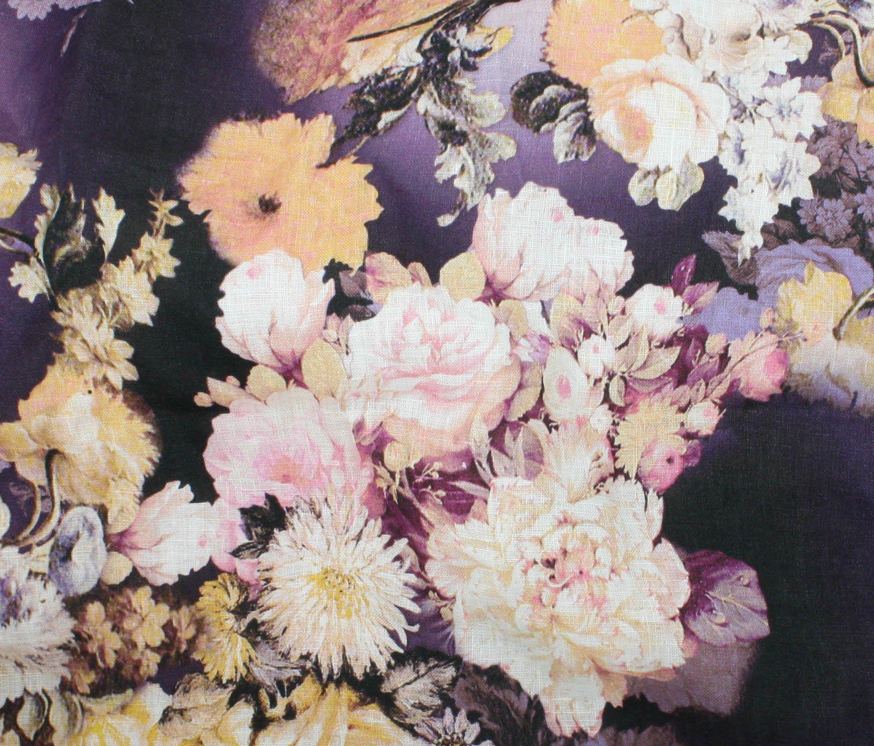 Digital Print Linen - Victorian Floral - Blue