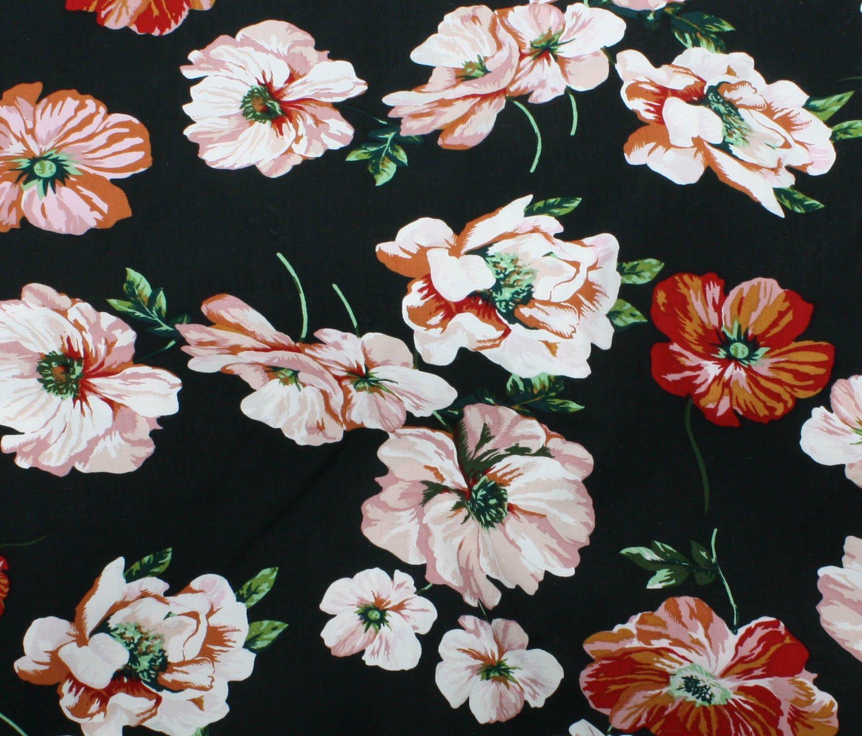 Rayon Challis Floral Print - Black