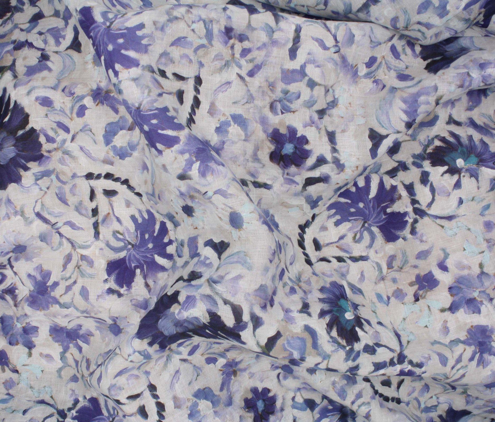 Digital Print Linen - Blue Watercolors