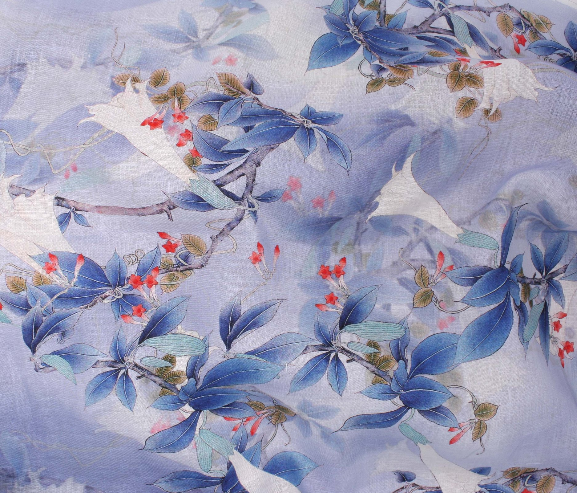 Digital Print Linen - Blue Jasmine