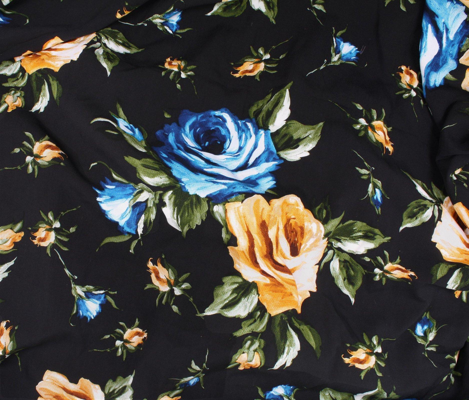 Rayon Challis - Roses - Blue/Gold