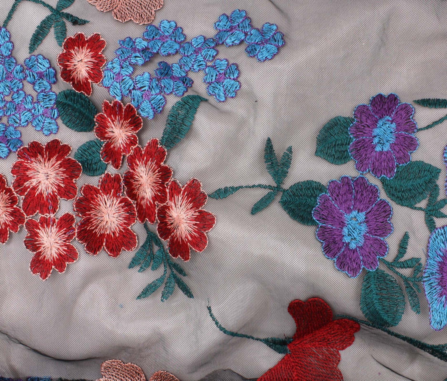 Embroidered Chiffon - Flower Cluster