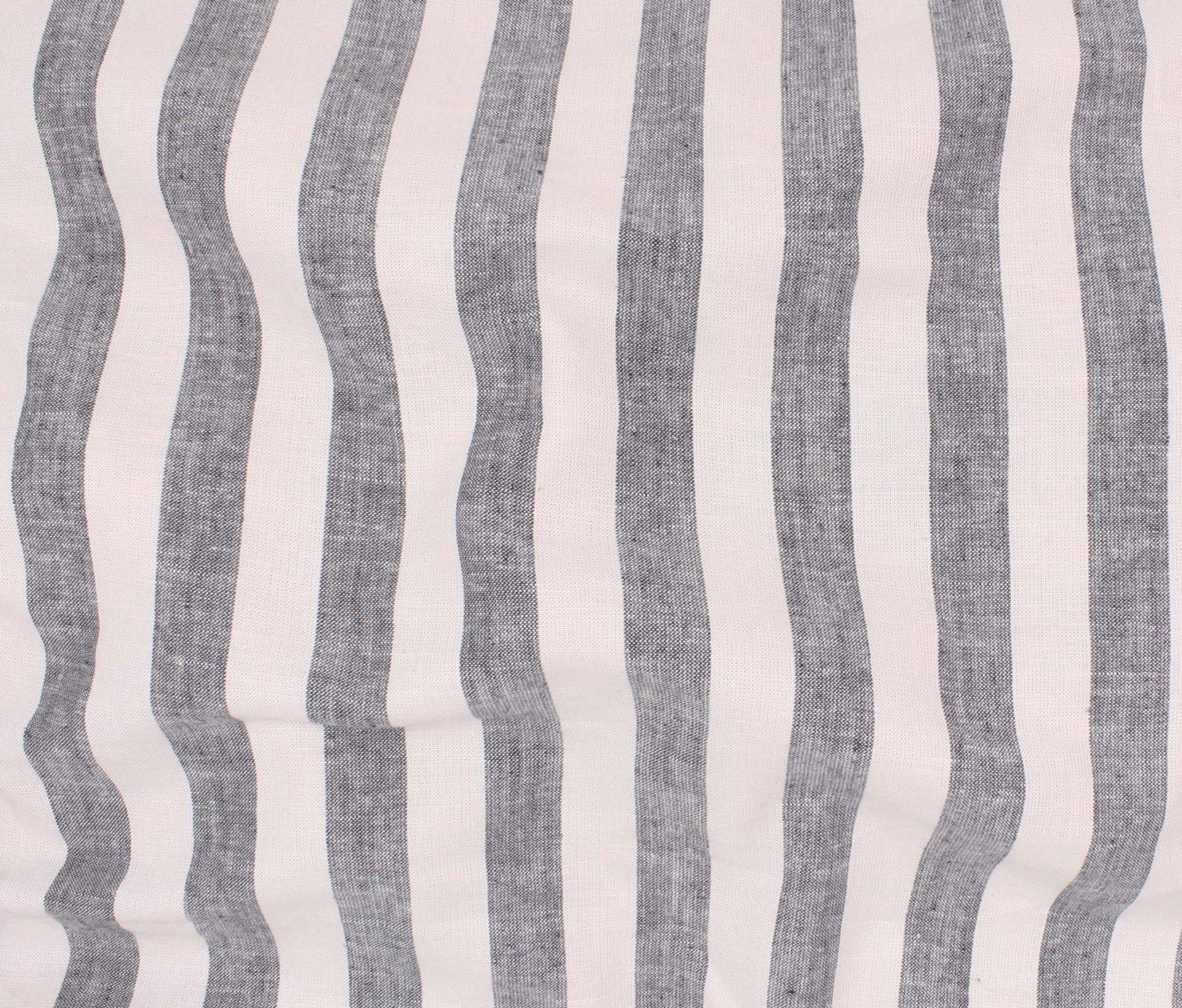 Summer Stripe Rayon/Linen - Black/White