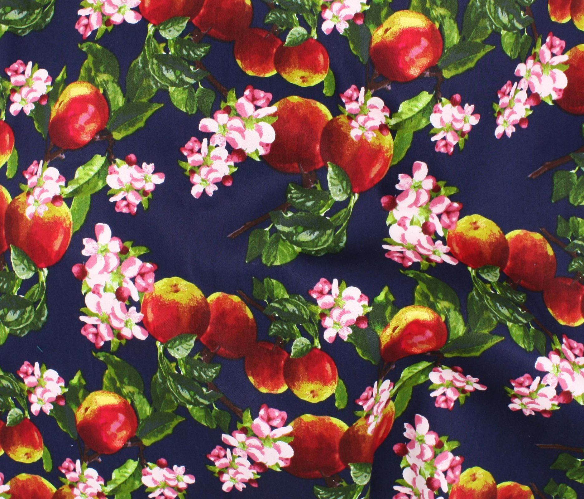 Cotton Stretch Sateen - Apple Orchard - Navy