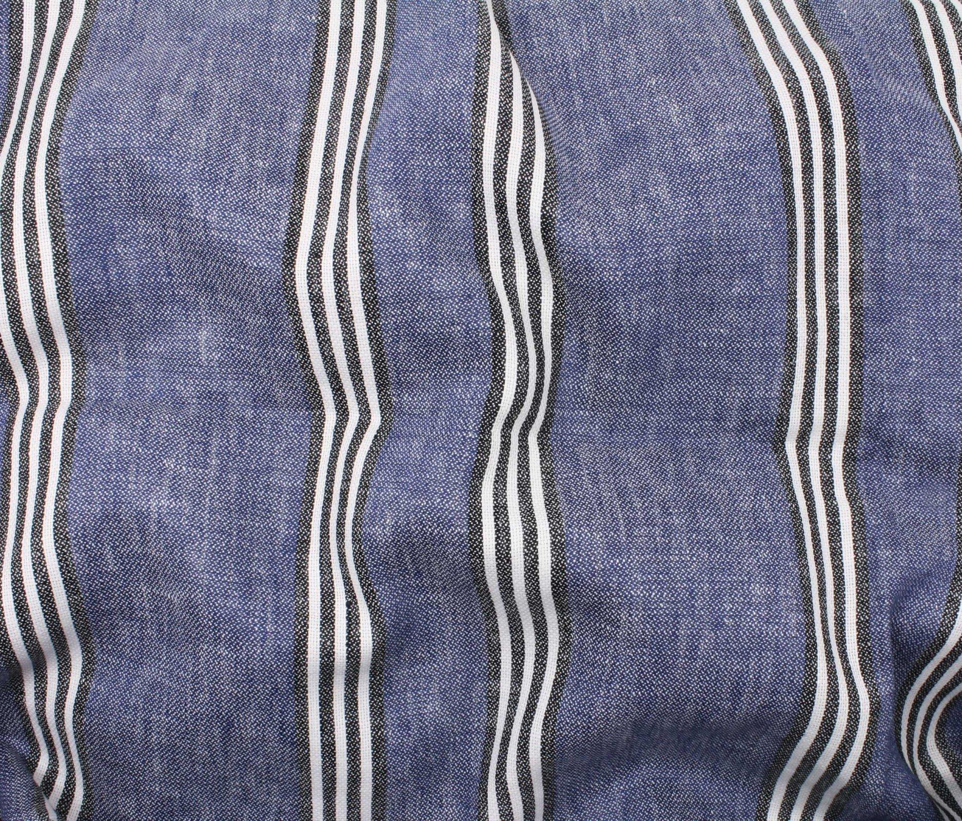 Canyon Stripe Linen/Cotton - Denim Blue