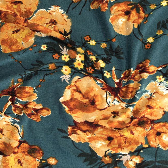 Double Brushed Polyester Knit - English Floral - Mustard/Hunter