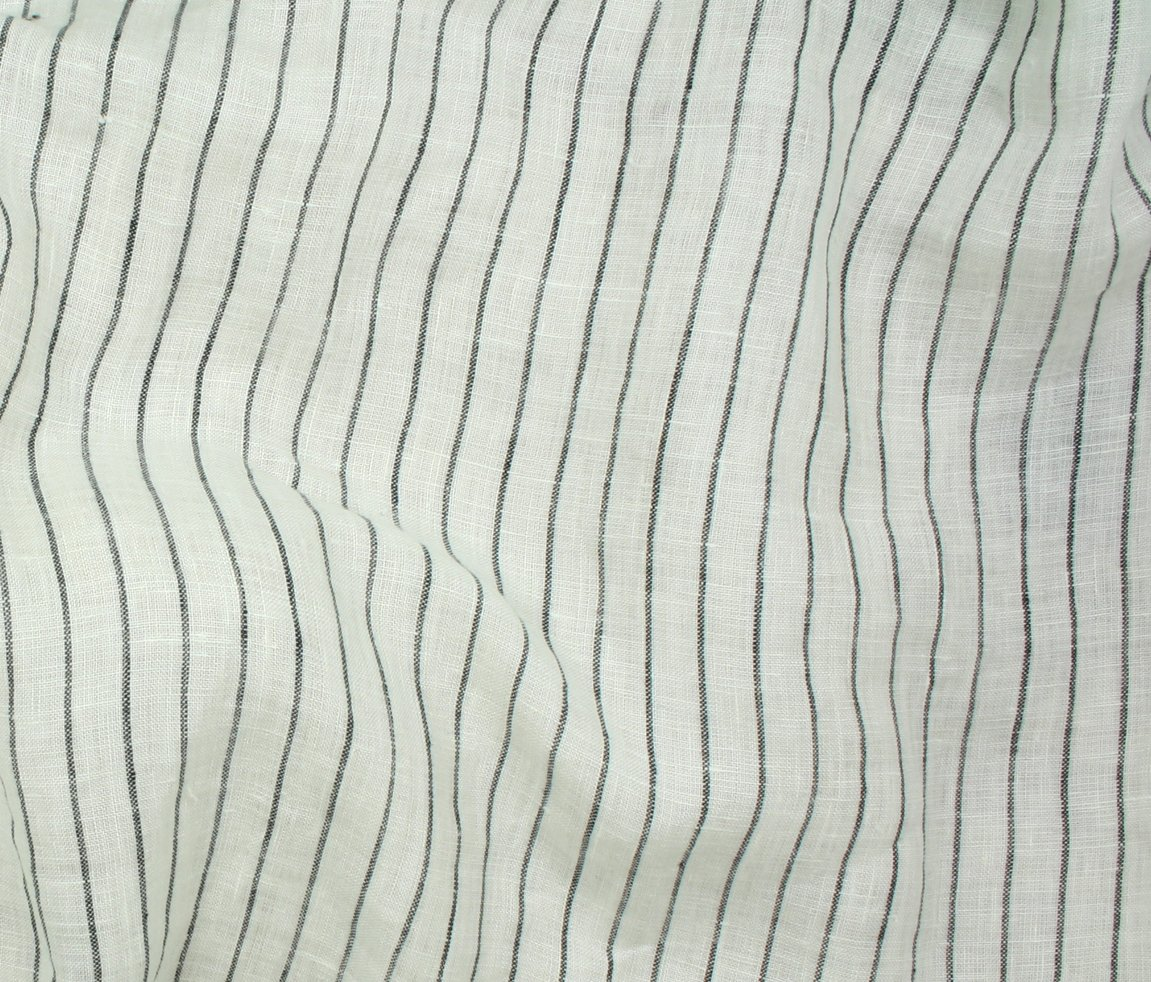 Tuscany Pinstripe Linen - Black Stripe on White