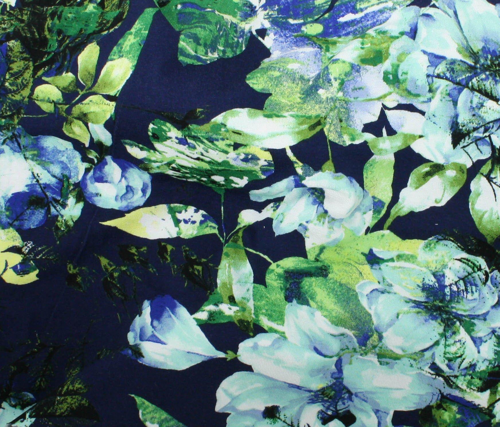 Dakota Knit Print Blue Tropical Flowers