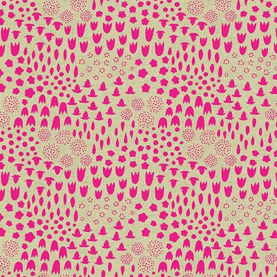 Tiger Plant - Folk Floral - Neon Pink