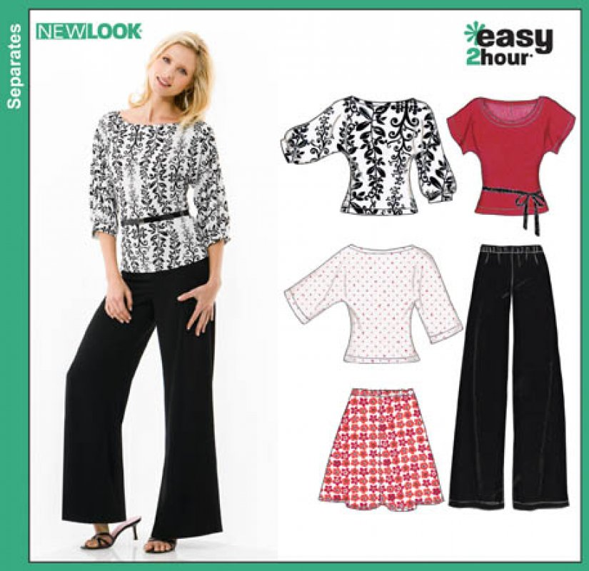 New Look - 6816 - Misses Easy Two-Hour Skirt, Pants and Knit Tops