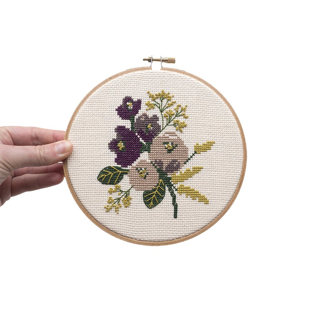 Junebug and Darlin Cross Stitch Kit - Amethyst Floral