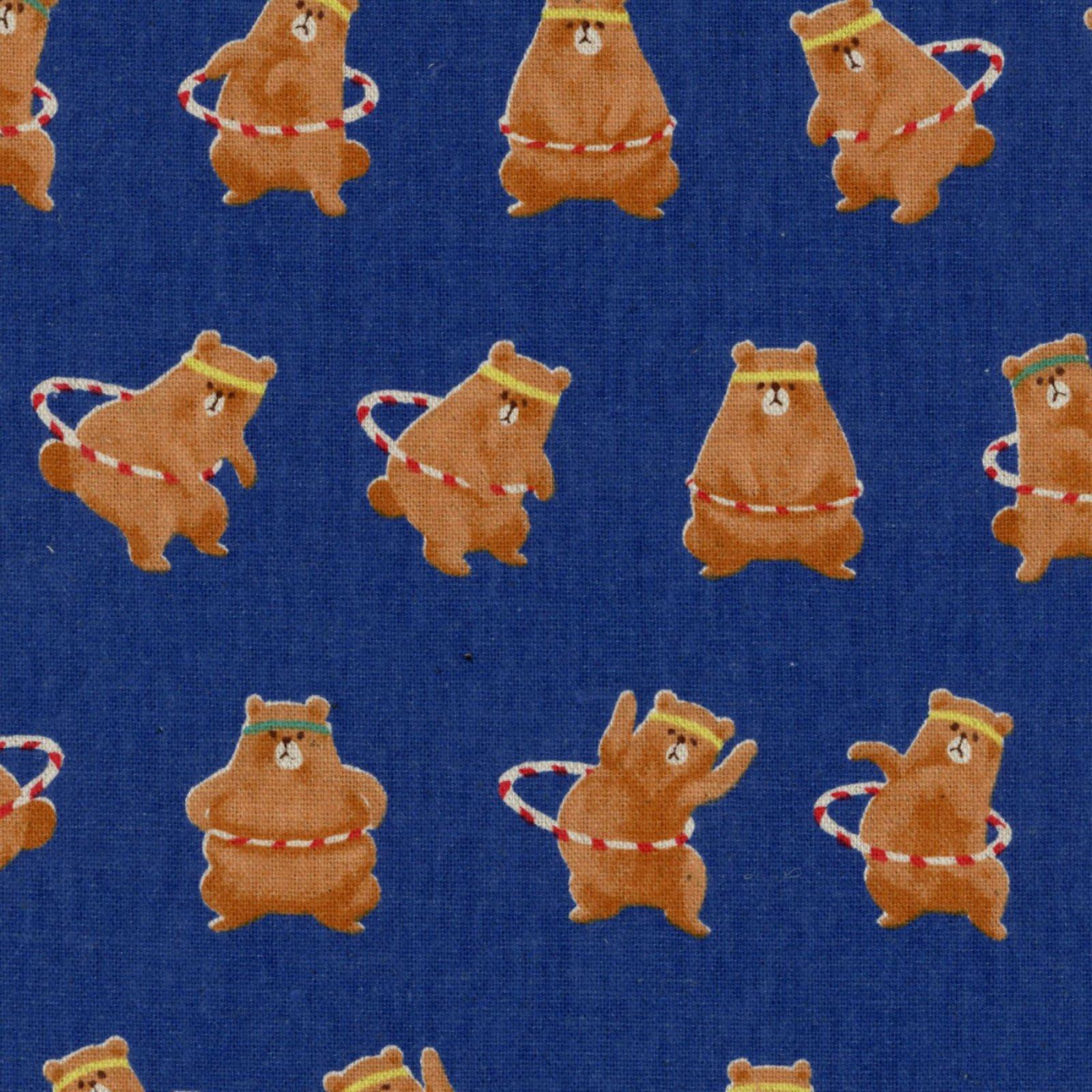 Cosmo - Cotton/Linen Canvas - Workout Bear - Blue
