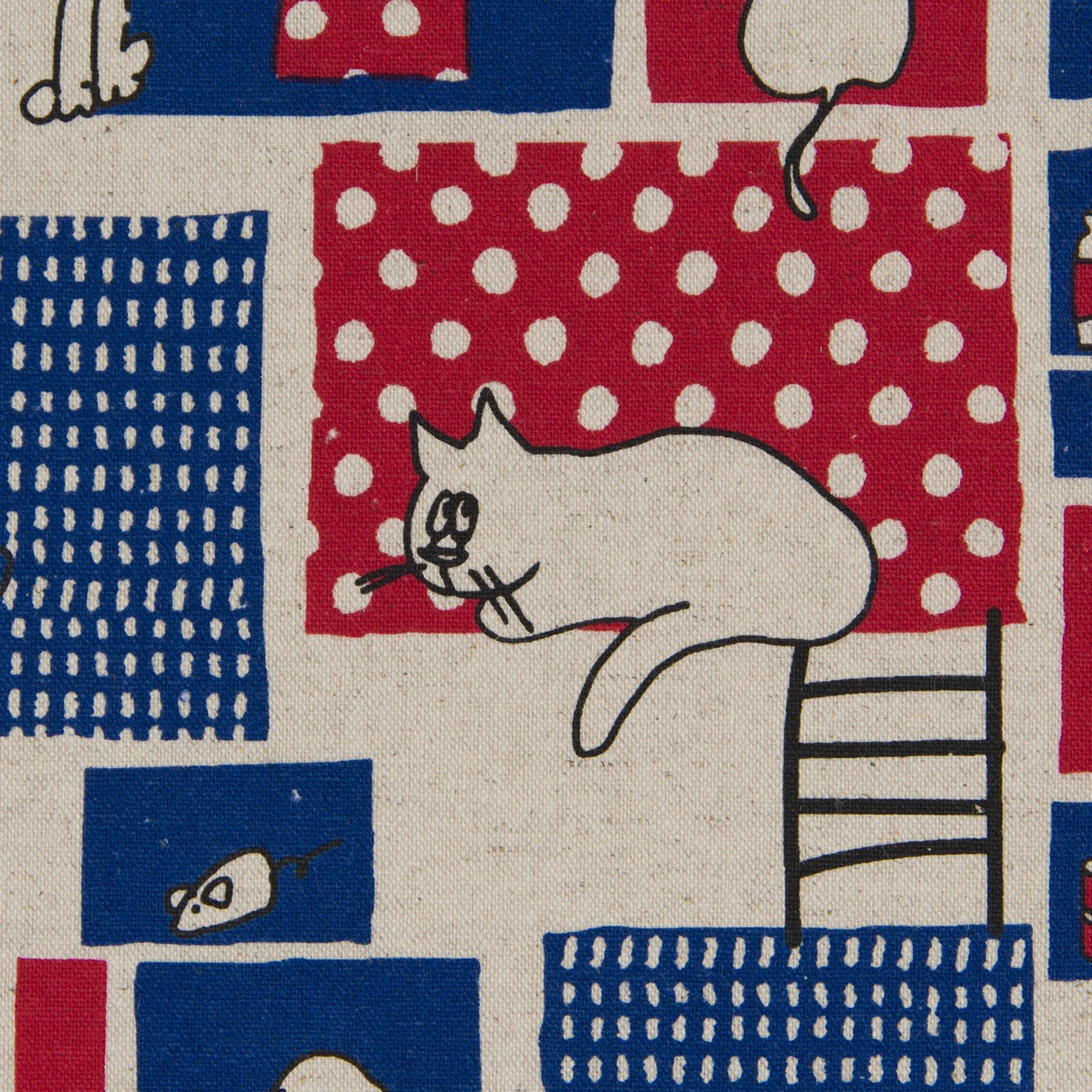 Cosmo - Linen/Cotton Canvas - City Cat - Blue/Red