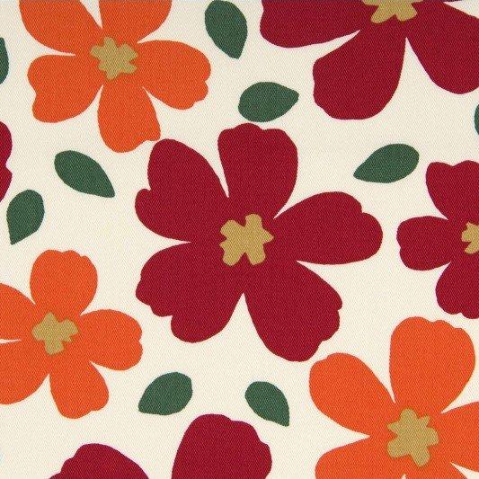 Cosmo - Cotton Twill - Vivid Floral - Red/Orange
