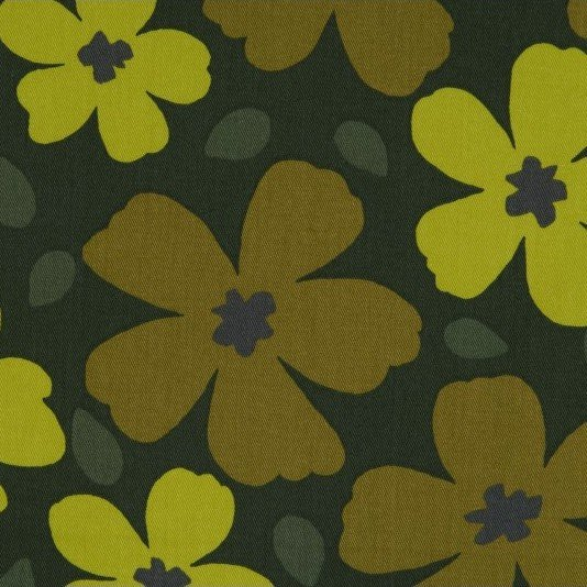 Cosmo - Cotton Twill - Vivid Floral - Chartreuse/Olive