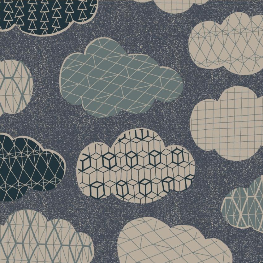 Hummingbird - Cotton/Linen Canvas - Clouds