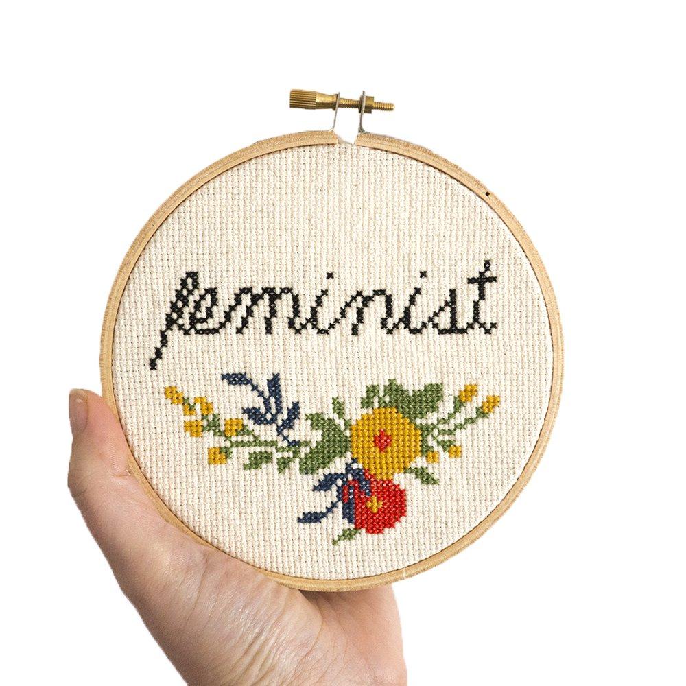 Junebug and Darlin Cross Stitch Kit - Feminist
