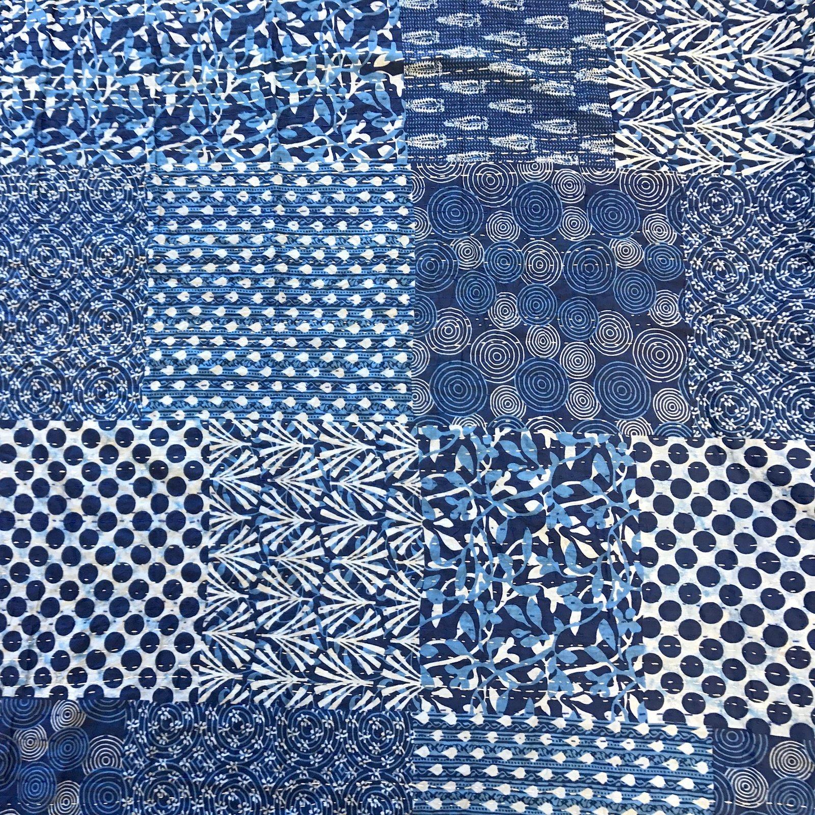 Indian Kantha Cloth - Blue Blocks