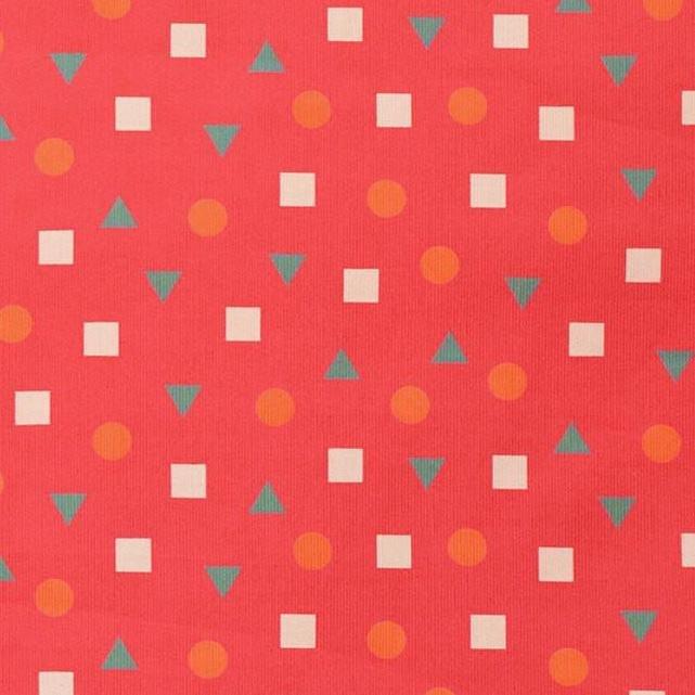 100% Cotton Corduroy - Shapes - Pink