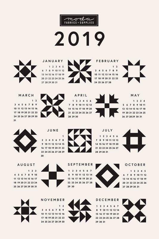 2019 Tea Towel Calendar - Quilt Blocks