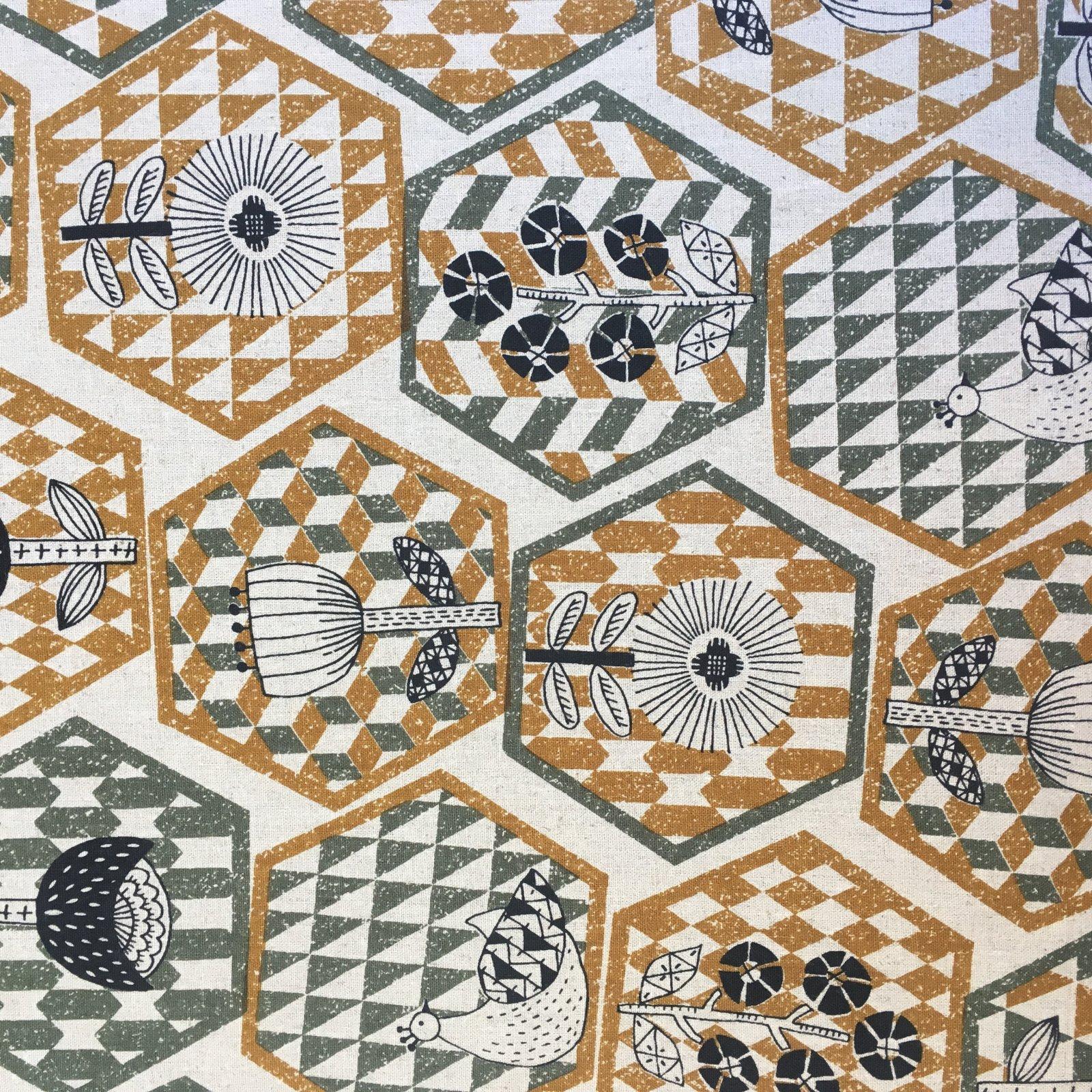 Hummingbird - Cotton/Linen Canvas - Hexagons
