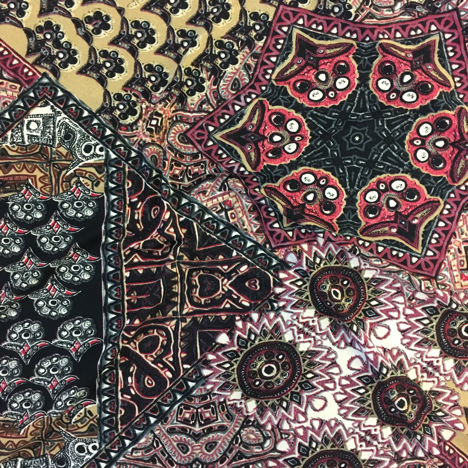 Brushed Poly/Viscose Knit - Ruby Tile